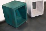 Mesa lateral cubo com rodízios