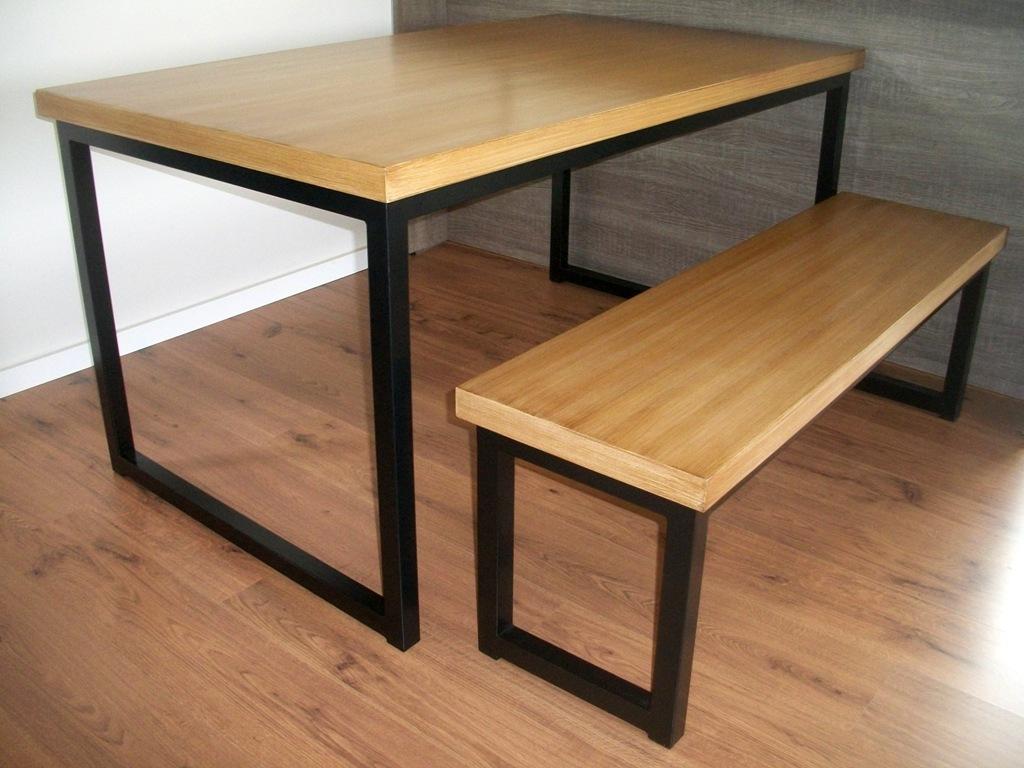 mesa de jantar banco de ferro com tampo de madeira.jpg #916D3A 1024x768