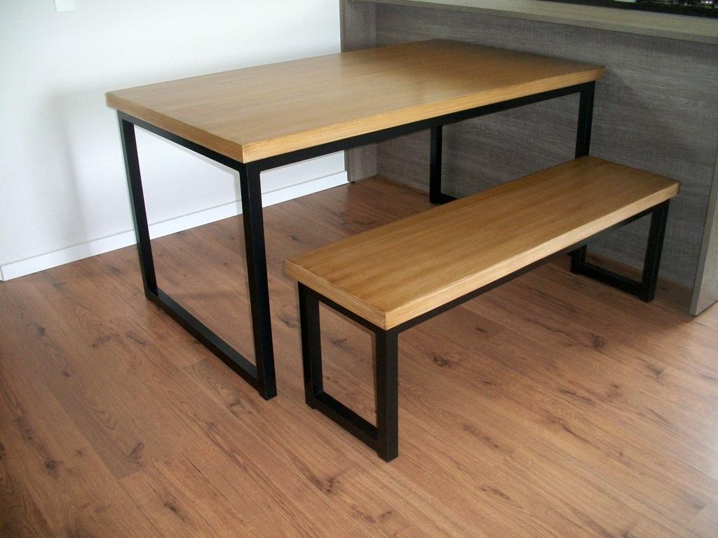 Mesas Bistrô Mesa de jantar e banco de ferro com tampo de madeira #916C3A 1024x768